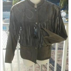 Della sport NWT loehmann fringe jacket L hippie